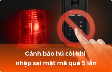 Cảnh báo hú còi khi dùng mật mã khóa điện tử sai